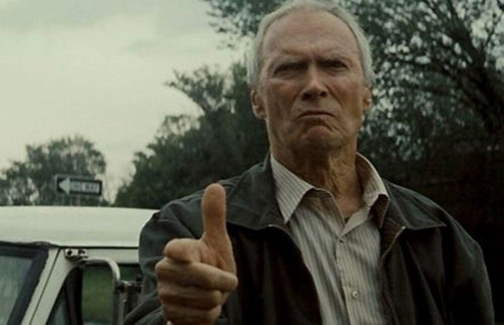 clint eastwood siwe włosy dziadek