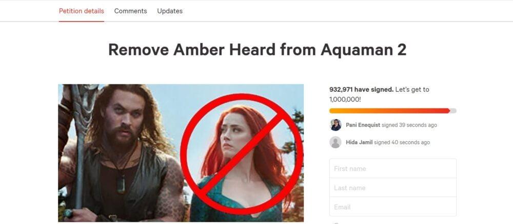 Petycja o usunięcie Amber Heard z roli Mary w filmie Aquaman 2