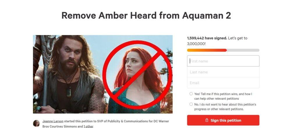 Petycja o usunięcie Amber Heard z obsady filmu Aquaman 2 przybiera na sile