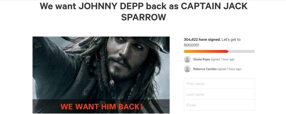 Johnny Depp w Piratach z Karaibów - petycja