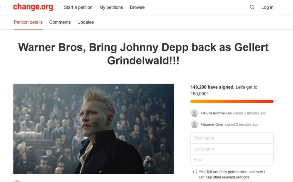petycja depp grindelwald