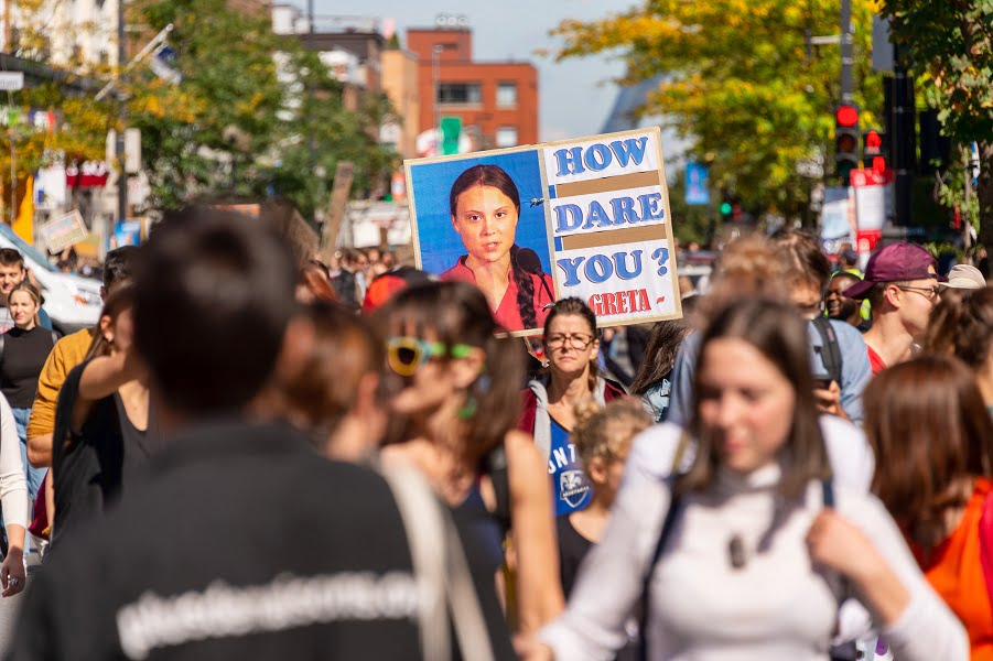 Greta Thunberg `How Dare You` sign at the Montreal Climate March. (
