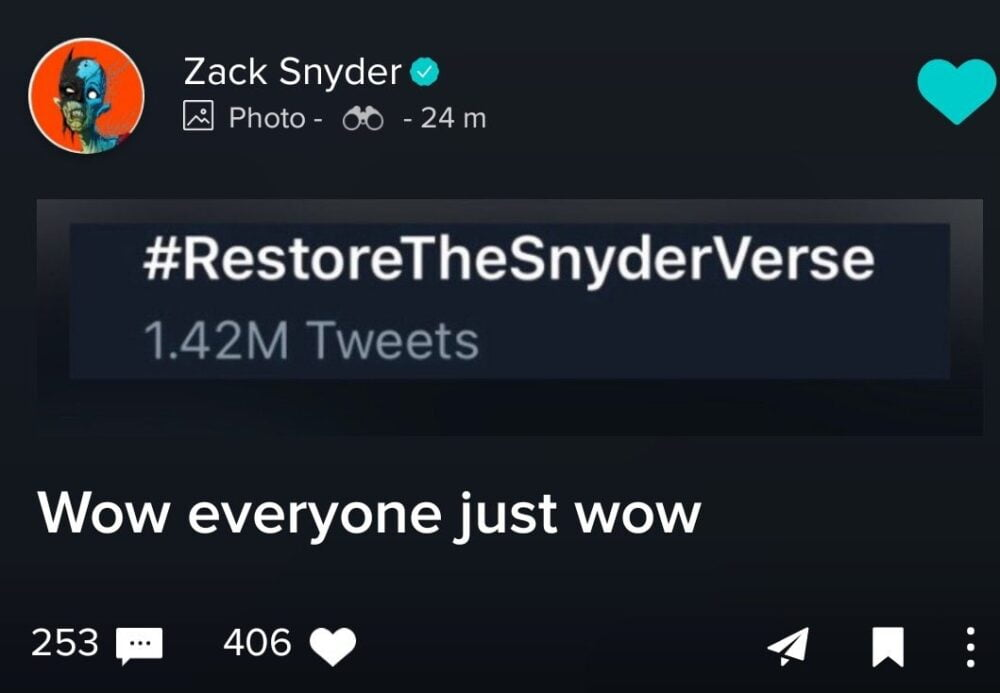 Zack Snyder odpowiedział na #RestoreTheSnyderVerse!