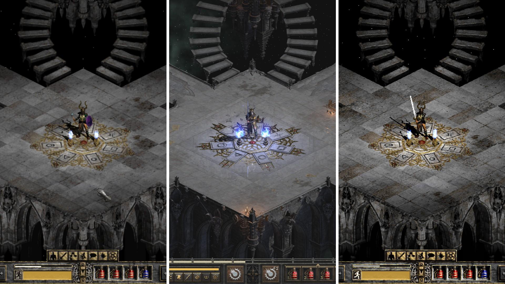 (Dari kiri) Bingkai dari game: Diablo II, Diablo II: Resurrected, dan Diablo II: Resurrected dalam versi lama